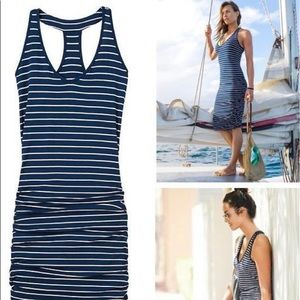 Athleta blue and white stripped fitted dress
